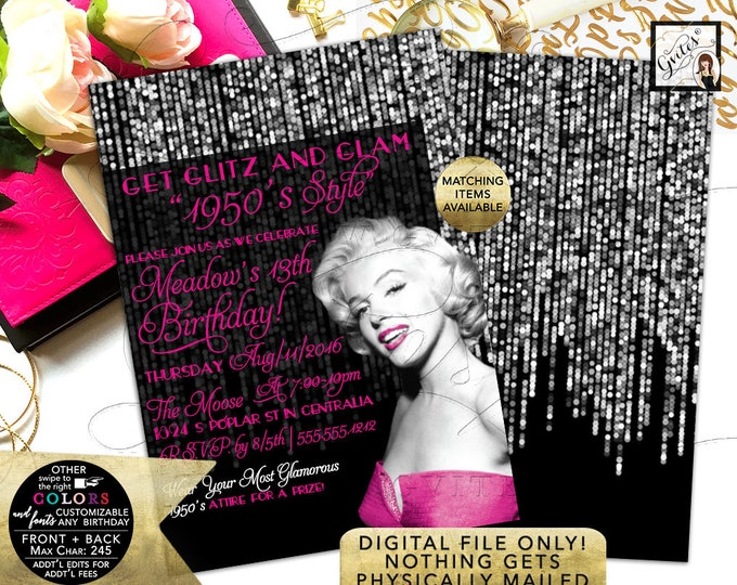 1950s Style Marilyn Monroe Invitations, birthday surprise party, adult invitation, pink and silver, glitz and glam, hollywood theme 5x7