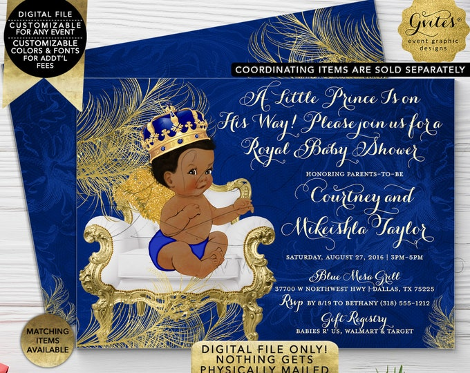 Royal Prince Baby Shower Printable Invitation, Blue white and gold Invites Angel African American Boy. 7x5 Double Sided Digital Only!