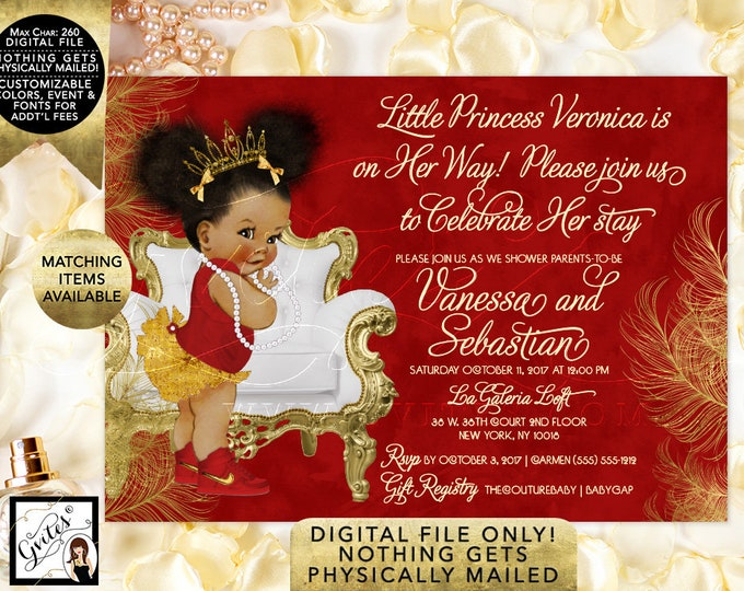 Princess Royal Baby Shower Printable Invitation, Red White and Gold African American Afro Puffs with Gold Tiara Invites. 7x5""
