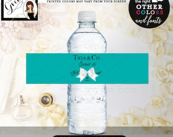 6f27f34dc4 Sweet 16 & Co water bottle labels, party decorations, stickers, decal,  custom printables, breakfast at, Digital. 8x2