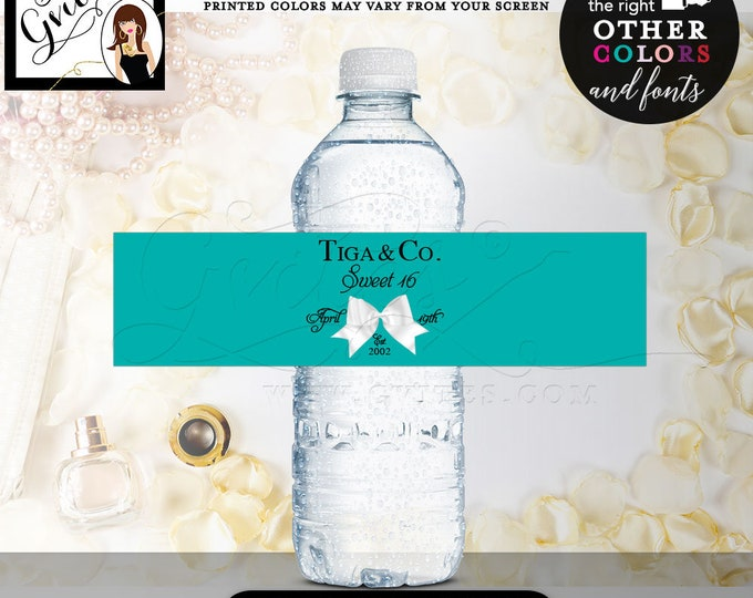 """Sweet 16 & Co water bottle labels, party decorations, stickers, decal, custom printables, breakfast at,  Digital. 8x2"""" 5 Per/Sheet"""