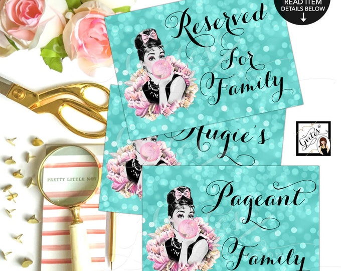 Breakfast at Decorations, Sweet 16 Audrey Hepburn Party Reserved Signs,Printable, Birthday, Wedding. Avail 4x6, 5x7, 8x10 {Set of 3}
