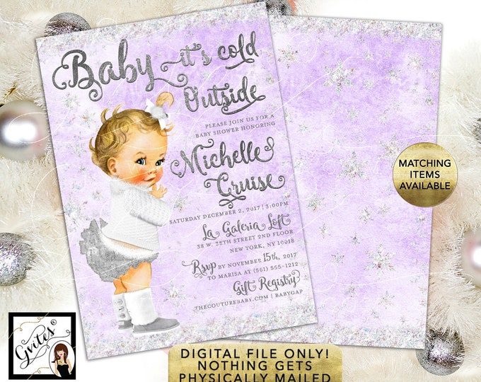Baby it's cold outside winter wonderland printable invitations, vintage baby girl ribbons, tutus fur boots, digital only 5x7""