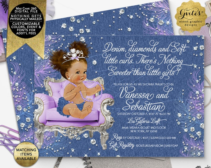 "Denim and Diamonds Lavender Baby Shower Invitations, Afro Puffs Curly Vintage African American Baby Girl. 7x5"" Double Sided, Printable"