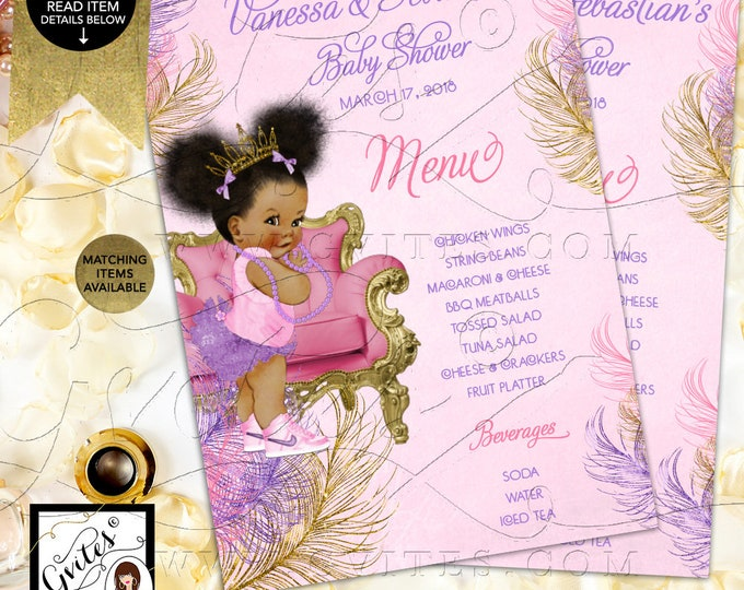 "Menu Cards Pink Purple Gold Baby Shower, Princess Printable, Afro Puffs Menus, Vintage Baby Girl, Gold Crown, DIY, Digital, 4x6"" or 5x7"""