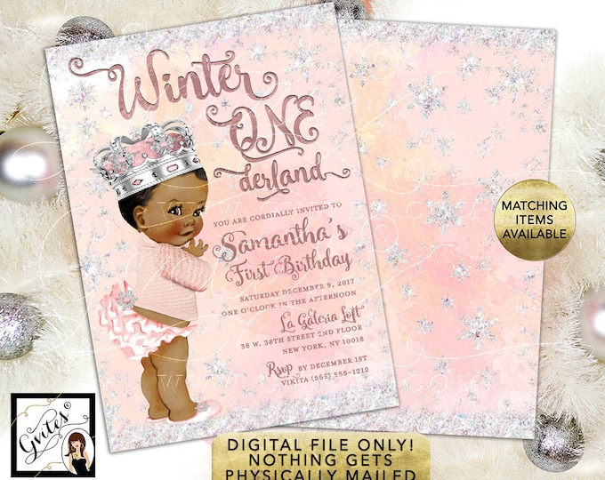 Princess Winter Wonderland Birthday Invitations vintage baby girl, double sided, 5x7, Gvites