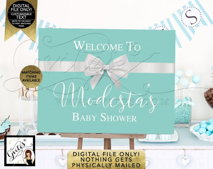 Welcome Baby Shower Sign Poster, Baby and Co Decorations, Breakfast at Entrance Centerpiece, Dessert Table, Printable Digital File, Gvites.