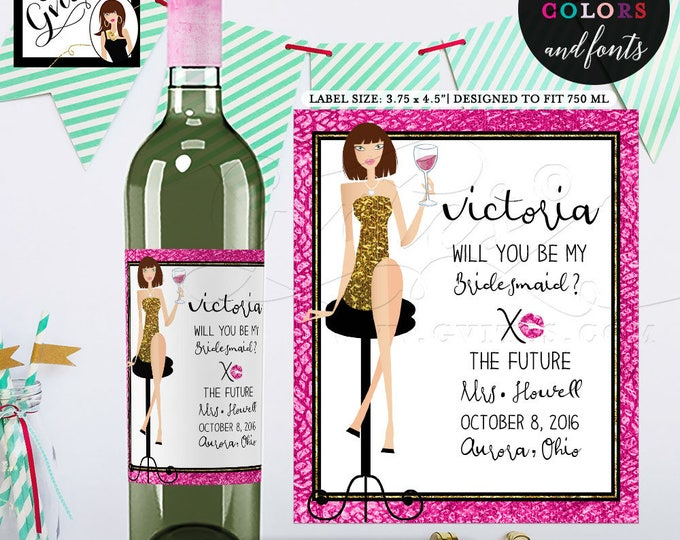"Bridesmaid wine label, thank you, Pink and Gold Wine Labels, will you be my bridesmaid?, stickers, bottle label. {3.75x4.5""/4 Per Sheet}"