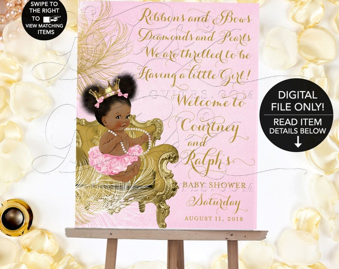 Welcome Sign Pink and Gold Baby Shower, Princess Poster Signage, Printable, Crown, Diamonds Pearls Ribbons Bows. {Gold/White Feathers}