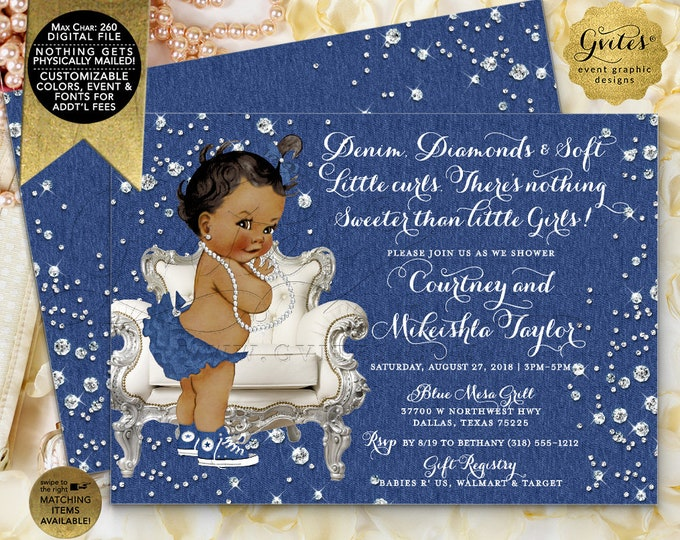 Denim & Diamonds Baby Shower Printable Invitation, Blue white silver Invites, Vintage African American Girl, Pearls. Double Sided, 7x5""