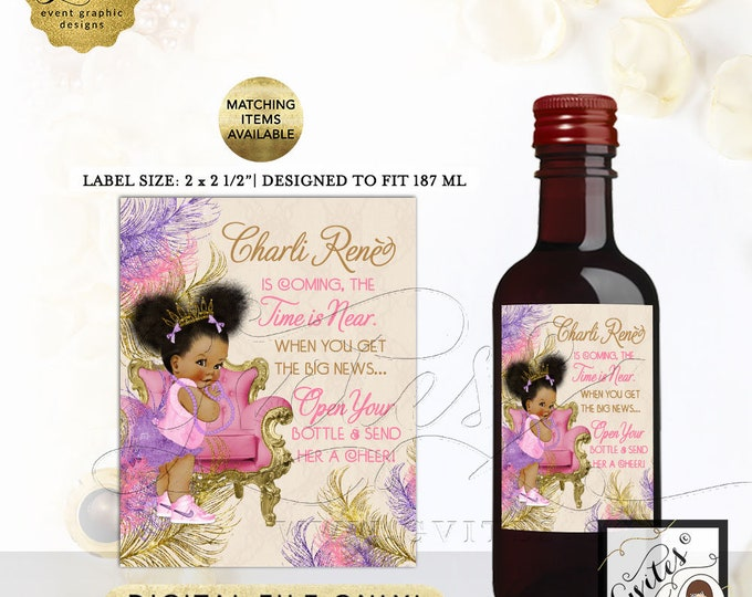 """Mini Wine Labels For Baby Shower Party Favors. Printable Stickers Vintage Baby Girl Afro Puffs Princess. 2x2.5"""" 12/Per Sheet. Digital Only!"""
