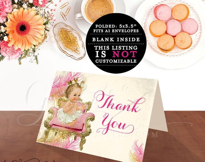 Thank You Baby Shower Cards, pink and gold, thank you notes baby girl princess 5x3.5 INSTANT Download {Light/BLONDE} 2 Per/Sheet