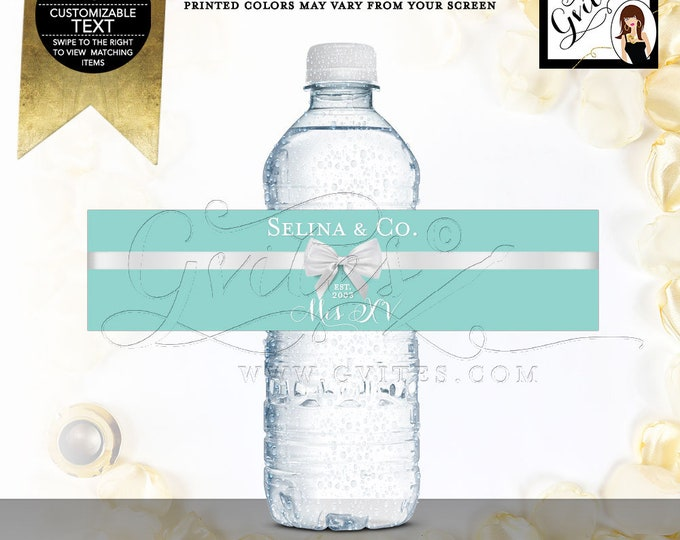 """Water Bottle Labels XV Mis Quince Favors, Stickers, Gifts, Blue White Teen Party Printable, DIY, 8x2""""/5 Per Sheet. Digital File! Gvites"""