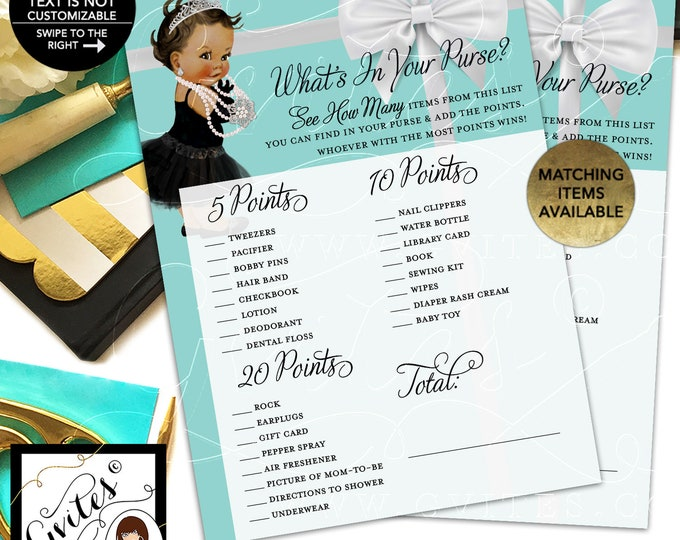 "What's in your purse baby shower game. Printable cards. 5x7""/2 Per Sheet {INSTANT DOWNLOAD/Baby: Med Brunette}"