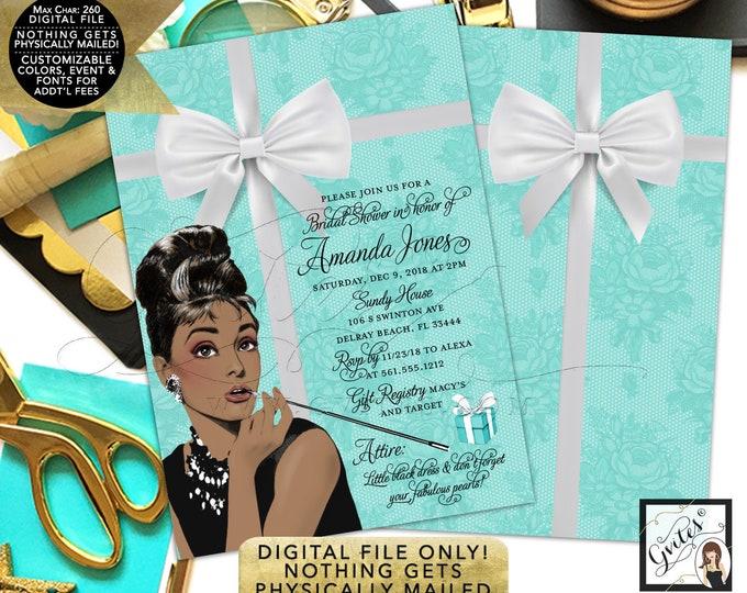 "Bridal Shower Invitation - Audrey Hepburn Printable Custom Invites, Digital File Only! Double Sided 5x7"""