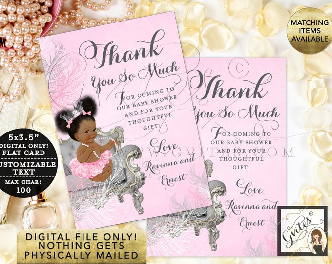 """Personalized Thank You Cards Baby Shower, Pink and Silver Princess Party Printable, Digital File Only! {3.5x5"""" 4 Per/Sheet}"""