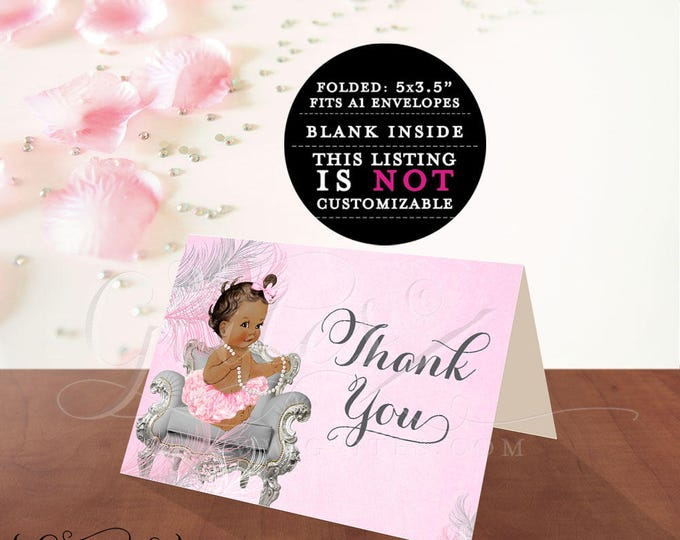"INSTANT DOWNLOAD-Thank You Card Baby Shower African American Med/Brunette 5x7"" 2 Per/Sheet {Feathers: Silver/White/Pink}"
