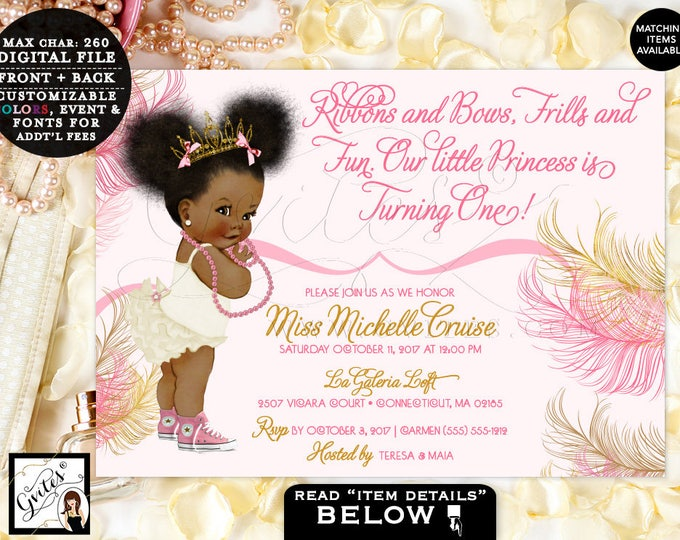 "Pink and Gold Baby First Birthday Invitation, Princess African American Afro Puffs Tiara, Ribbons Bows 1st invite, 7x5"" Gvites"