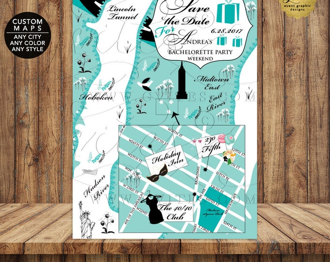 Breakfast at Tiffany's Themed Save The Date Personalized, Illustration Any City, State, Any Color or Themed. Wedding Maps.