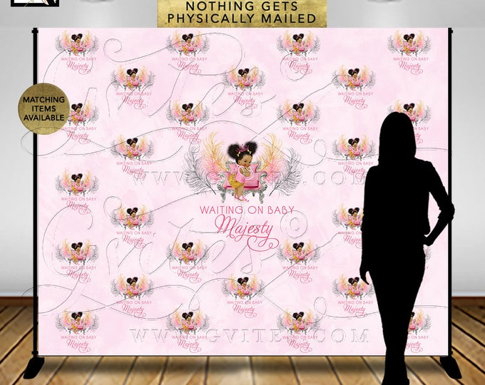 Step & Repeat Pink and Gold Baby Shower Backdrop Banner, Photo Booth, African American Princess Decor, Digital. {Pink/Silver/Gold Feathers}