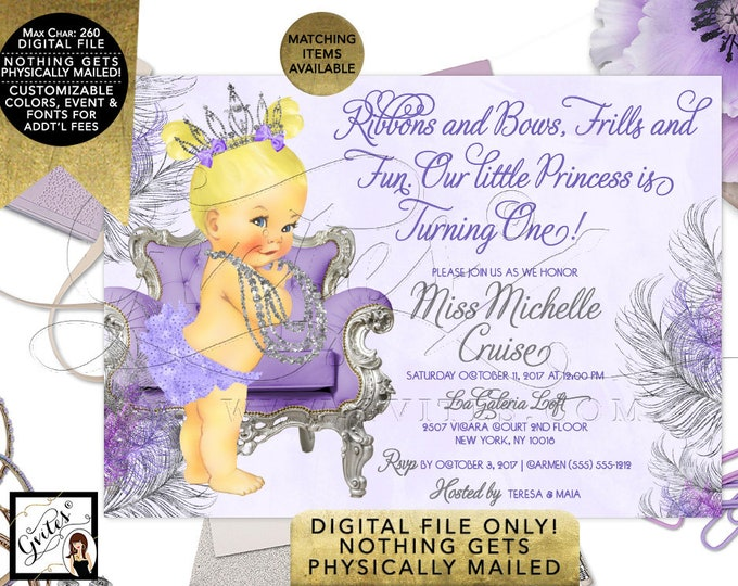 "Lavender and Silver Invitations, First Birthday Printable Party Invite, Blonde Baby Vintage Tiara, Ribbons Bows Frills & Fun, 7x5"" Digital"