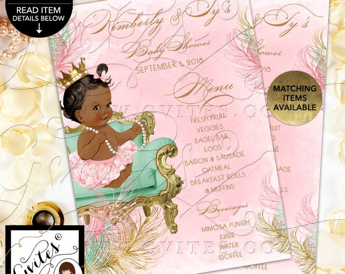 Baby Shower Menu Cards Personalized, Pink Mint Green and Gold, Princess Vintage Baby Girl. Digital File! JPG + PDF 4x6 or 5x7