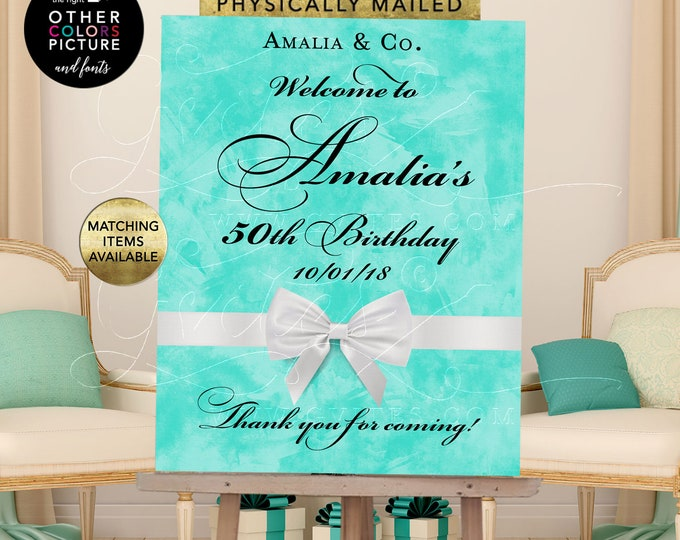 50th Welcome Birthday Sign, printable poster banner, breakfast at blue, {Customizable Name/Age/Date Only!}