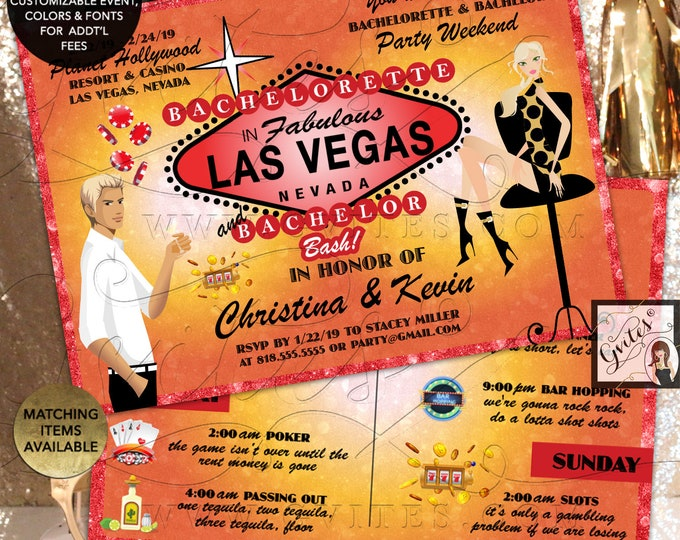 """Joint Bachelorette Bachelor Invitation Las Vegas Party Weekend Itinerary on the back. 7x5"""" Digital File Only!"""