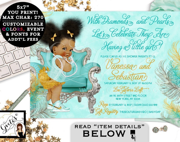 Turquoise and Gold Baby Shower invitations, blue gold silver, ethnic baby, bows diamonds pearls. Afro Puffs. Gvites
