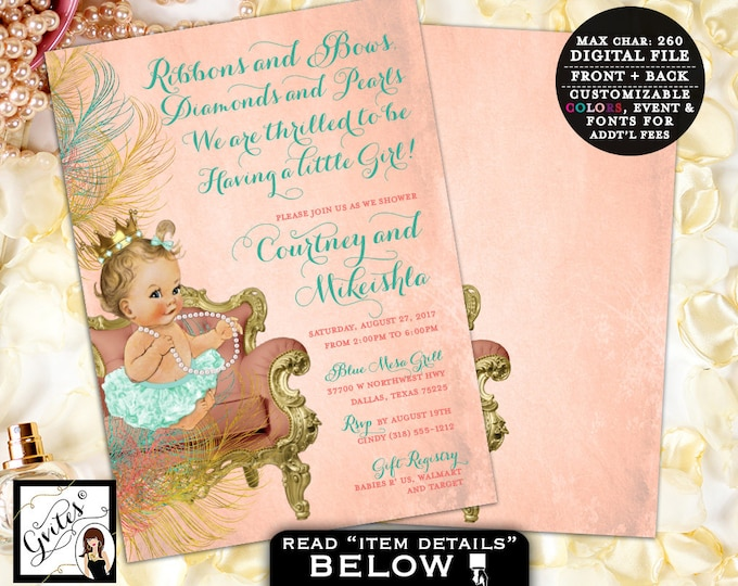 Mint and Coral Baby Shower Invitations, Princess Vintage Baby Girl, Gold and Coral, Tutus Ribbons Diamonds Pearls. DIY, Digital File Only!