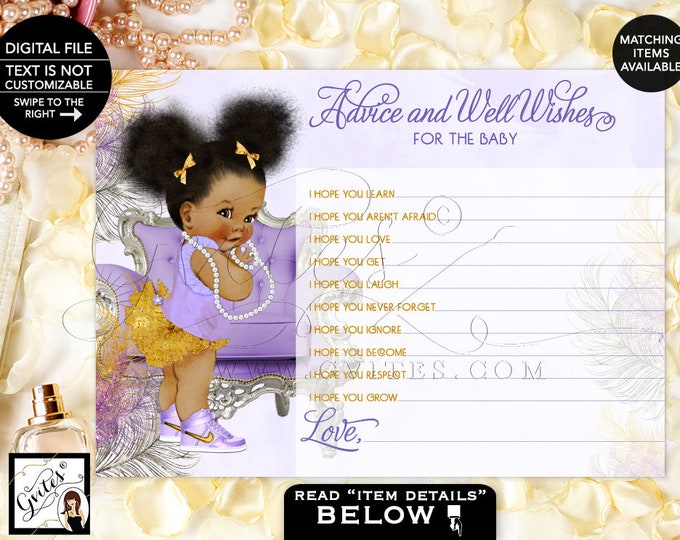 "Advice Card For Baby Lavender Silver and Gold shower wishes card, Purple, Afro Puffs, African American 7x5"" 2 Per Sheet. Instant Download"