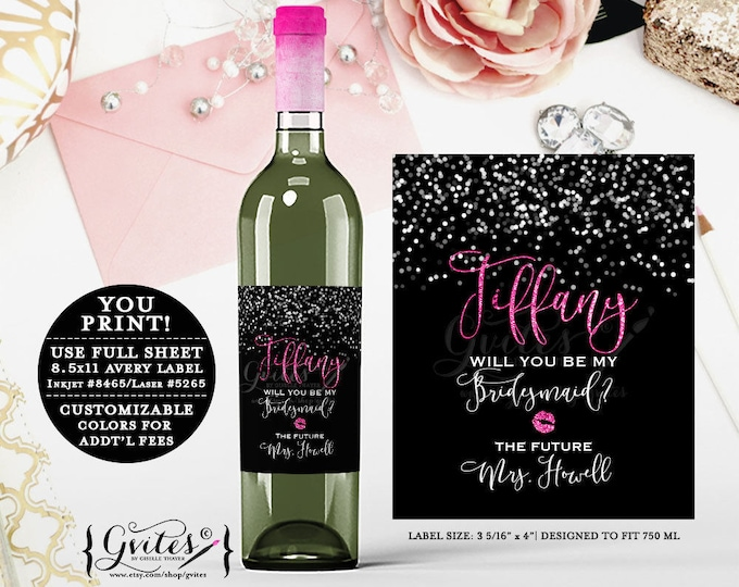 """Pink and Black Bridal Shower Wine Labels, Glitter and Silver Wine Bottle Stickers bridesmaid, glitz & glam, {3.75x4.5""""/4 Per Sheet}"""