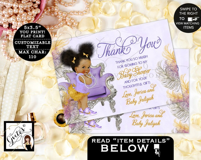 "Thank You Baby Shower, Lavender Purple Silver Gold, African American, Ribbons Bows, Afro Puffs, Chair, Digital {5x3.5"" 4 Per/Sheet} Gvites"