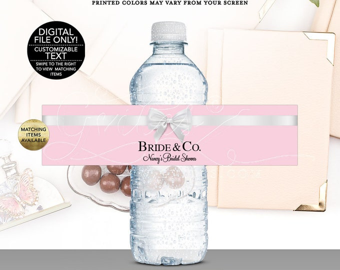 "Bride and Co Water Bottle Labels Wrappers, Pink wedding Favor Label, Breakfast at Pink favors gifts. Digital, Printable, 8x2""/5 Per Sheet."