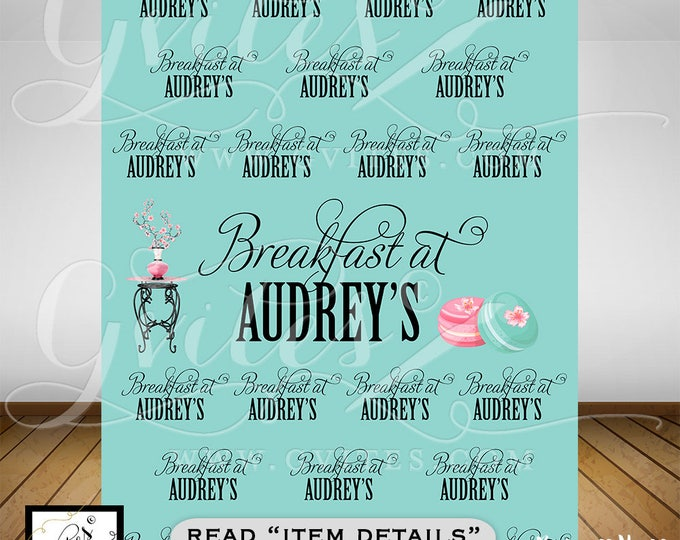 Breakfast at Step & Repeat Backdrops, Breakfast at bridal shower backdrops, blue theme photo back drops, and co 5ft x 7ft.