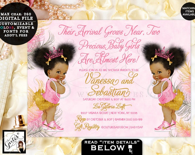 Pink and Gold  Twin baby shower invitation, TWINS tiaras tutus diamonds pearls afro puffs, DIGITAL 7x5. Gvites {Pink/Silver/Gold Feathers}