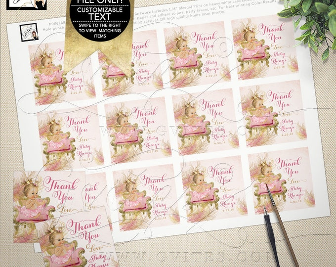 "Pink and Gold Thank You Tags, Baby Shower Favor Gift Tag Labels Royal Princess Baby Girl, Printable, Diamonds Pearls Gvites 2x2"" 12/Sheet."