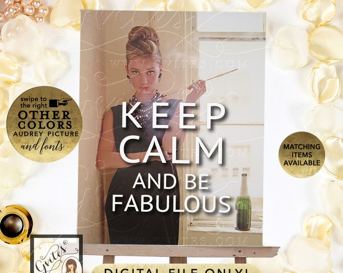 Keep Calm Poster Audrey Hepburn Customizable Text, Picture, Colors and Fonts. Digital File Only!