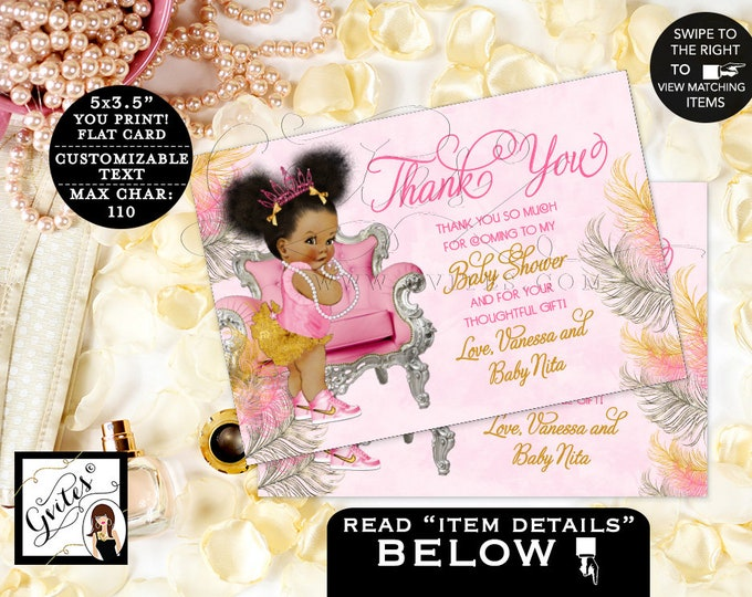 "Pink and Gold Thank you baby shower cards, African American flat customizable text. {5x3.5"" 4 Per/Sheet} {Pink/Silver/Gold Feathers}"
