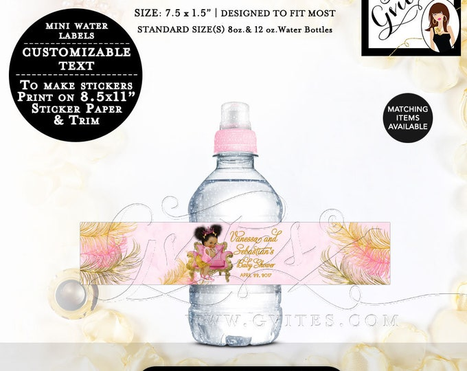 "MINI-Water Bottle Labels Pink and Gold Baby Shower Party Favors Gifts. Size 7.5x1.5""/7 Per Sheet. {Design: TIACH-110} By Gvites"