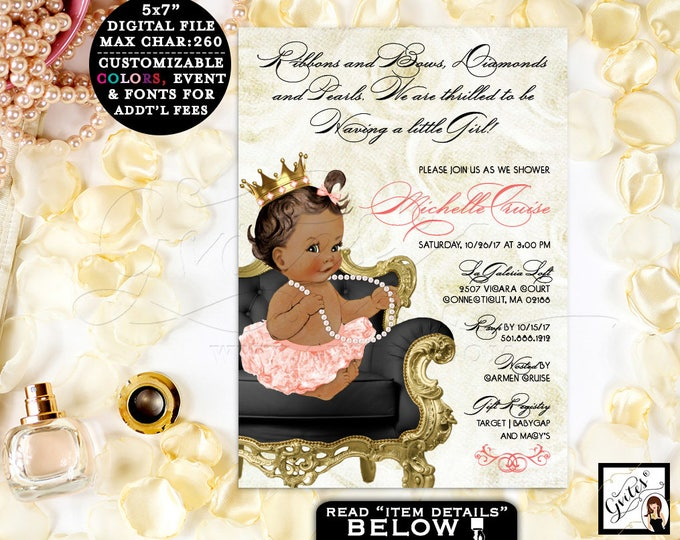 "Gold Peach and Black Baby Shower Princess, Vintage themed invites, diamonds pearls ribbons and bows, gold crown, tutus, 5x7"", DIY, DIGITAL"