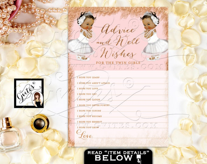 "Advice Card For Twins Baby Shower African American Baby Girls, Rose Gold & Blush Pink, Tiaras Princess 7x5""/2 Per Sheet. DIY, Digital File"