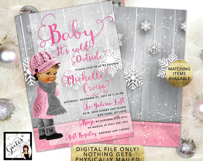 African American Baby It's Cold Outside, Baby Shower Invitation, pink silver winter wonderland girl printable 5x7 double sided. Gvites