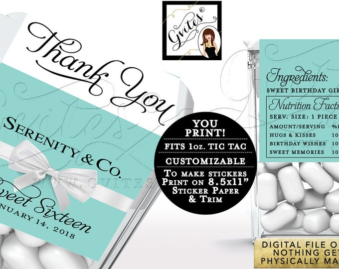 Blue Tic Tac labels Sweet 16 Birthday Party Labels breakfast at and co, candy wrappers, favors gifts, thank you, PRINTABLE. 8/Per Sheet.