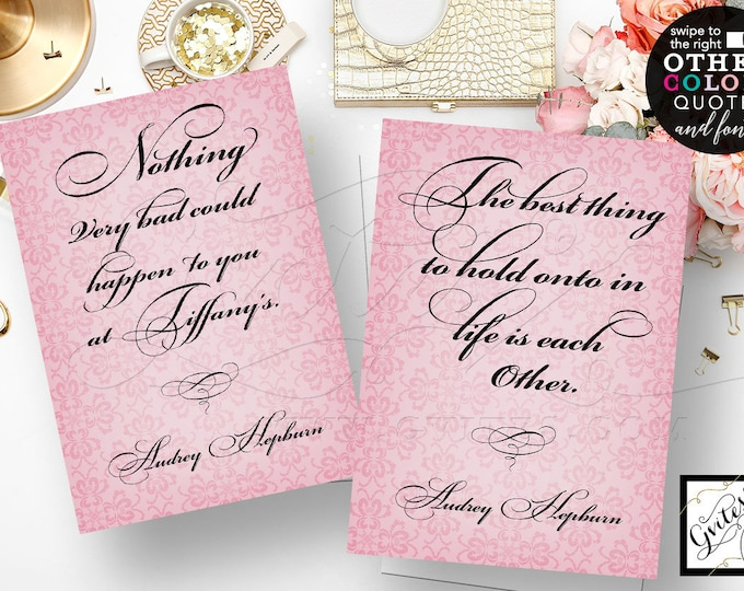 "Pink Audrey Hepburn Bridal Shower Decorations, Keepsakes, Centerpiece, Bridesmaid Gifts Favors Set of 2/5x7"" DIY, Digital File, Printable"