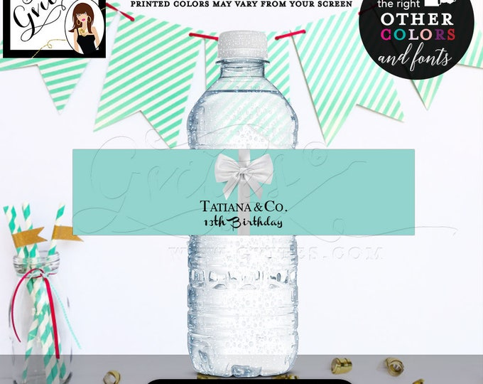 13th Birthday & Co Water Bottle Labels, customizable stickers, printable, breakfast at tags, blue theme, Gvites. {Realistic satin ribbon}