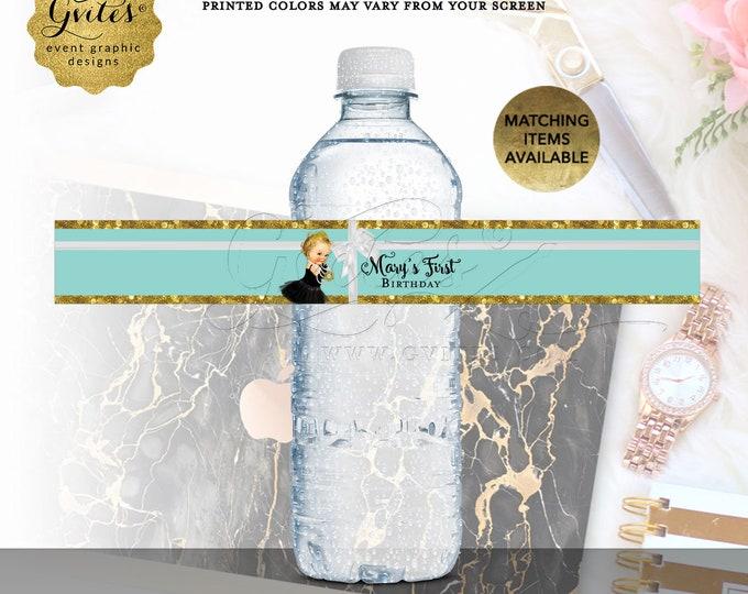 Water Bottle Labels Turquoise Blue & Gold 1st Birthday Printable Breakfast Vintage Black Tutu {Designed For Avery® 22845}