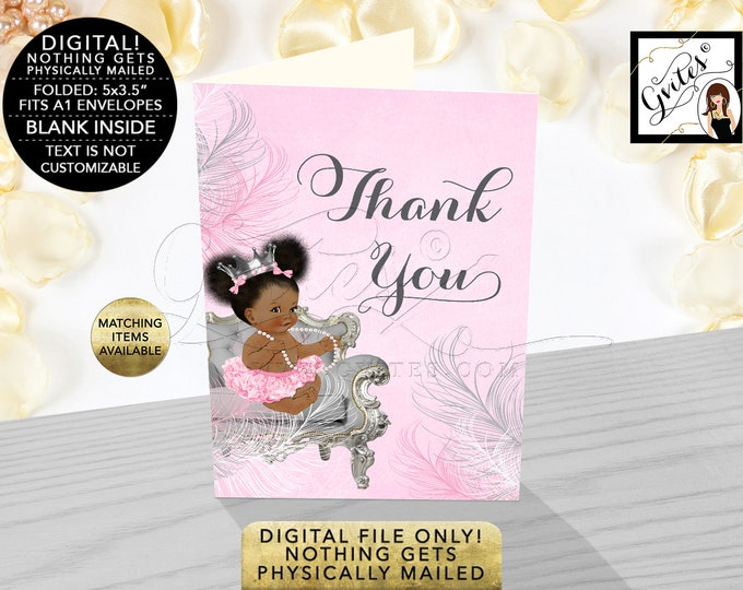 """Thank You Cards Baby Shower, Pink Silver Princess Party Printable, Digital File Only! {3.5x5"""" 2 Per/Sheet, Folded Cards/Non-Personalized}"""