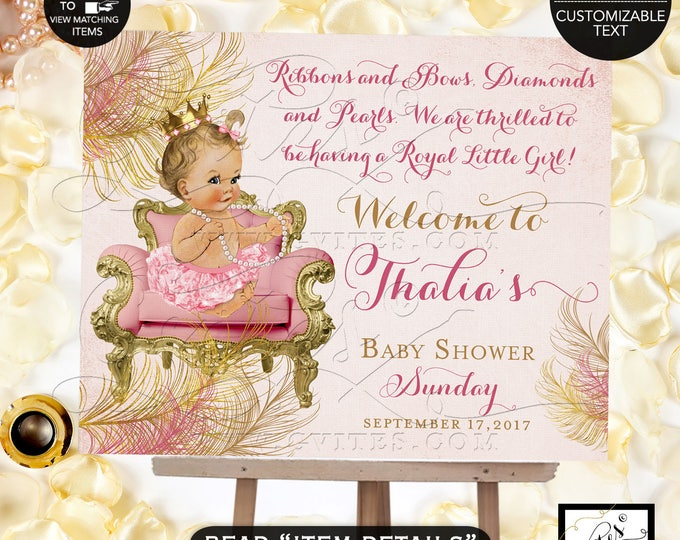 Blush Pink & Gold Welcome Sign, Baby Shower Princess Vintage Baby Girl, Gold Crown Printable, Diamonds Pearls