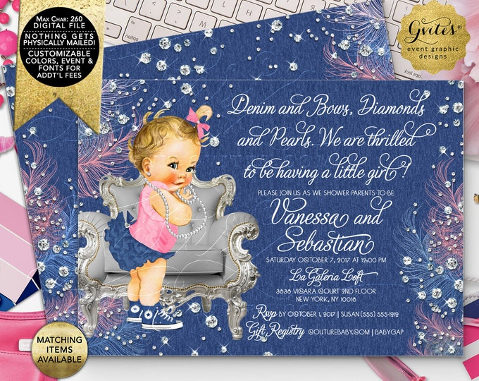 """Denim and Diamonds Baby Shower Invitations, Vintage Baby Girl Silver Blue and Pink, Digital File Only! 7x5"""" Double Sided. DIY, Printable."""